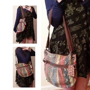 Fossil vintage tapestry bag with leather accents